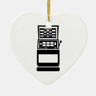 Slot machine casino Double-Sided heart ceramic christmas ornament