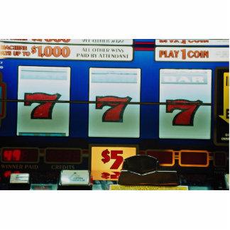Slot machine in a casino standing photo sculpture