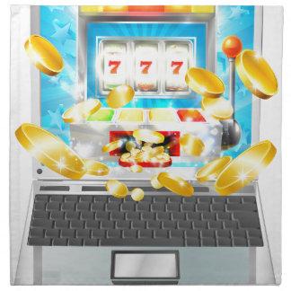 Slot Machine Laptop Computer Concept Napkin