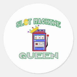 Slot Machine Queen Classic Round Sticker
