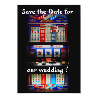 "Slot Machine Save the Date Lucky in Love 5"" X 7"" Invitation Card"