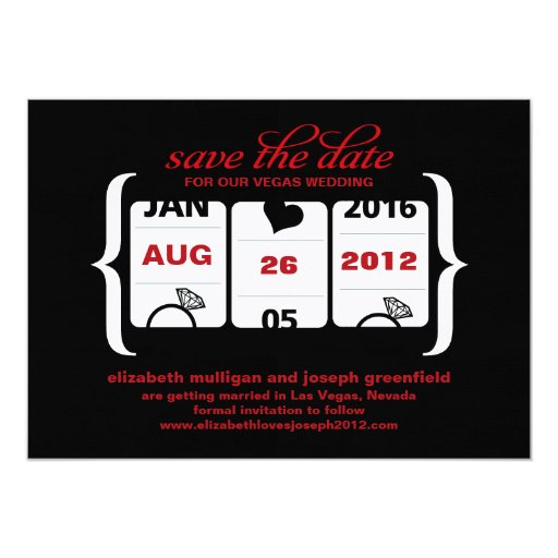 Slot Machine Save the Date - Wedding 5x7 Paper Invitation Card