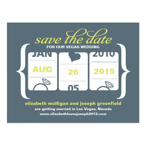 Slot Machine Save the Date - Wedding Post Card