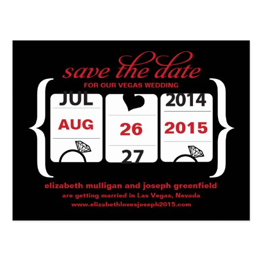 Slot Machine Save the Date - Wedding Postcards