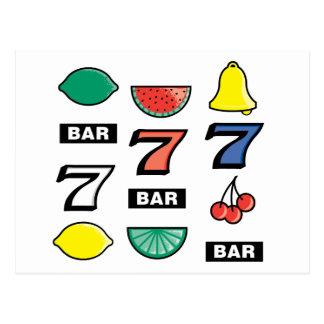 Slot Machine Slots Fruits - Play To Win Charms Postcard