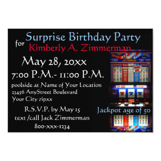 Slot Machine Surprise Birthday Party 5x7 Paper Invitation Card