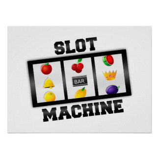 Slot Machine Tilted Icon Poster