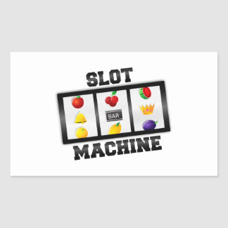Slot Machine Tilted Icon Rectangular Sticker