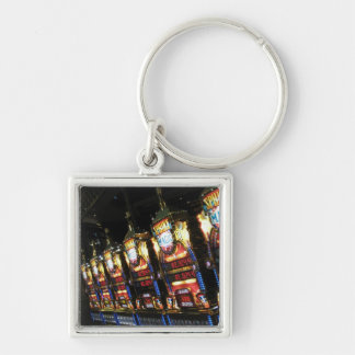 Slot Machines Silver-Colored Square Keychain