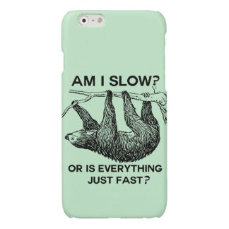Sloth am I slow? Green Glossy iPhone 6 Case