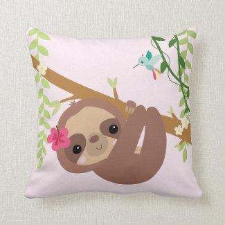 Sloth and hummingbird throw pillow