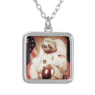 Sloth astronaut-sloth-space sloth-sloth gifts silver plated necklace
