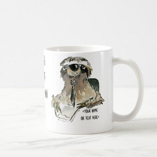Sloth at Office Cartoon Coffee Mug