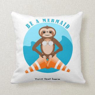 Sloth Be A Mermaid Throw Pillow