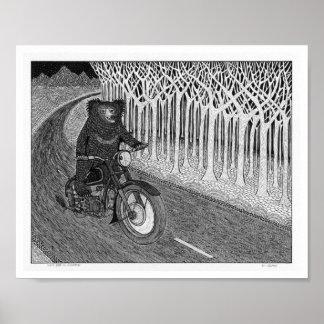 Sloth Bear on Motorbike Poster