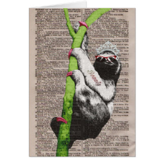 Sloth Beauty Queen Note Card