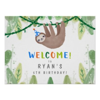 Sloth Birthday Party in Blue & White Welcome Sign