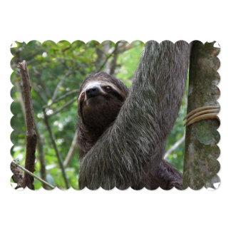"""Sloth Climbing Tree 5"""" X 7"""" Invitation Card"""