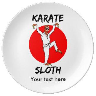 Sloth Doing Karate Funny Martial Arts Porcelain Plates