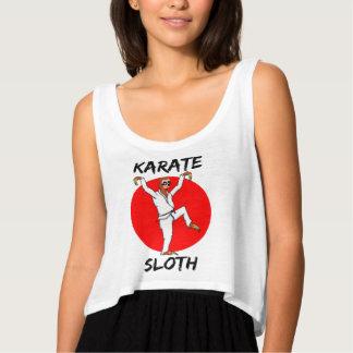 Sloth Doing Karate Japan Flag Flowy Crop Tank Top
