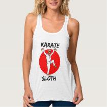 Sloth Doing Karate Japan Flag Tank Top