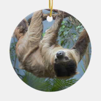 Sloth Double-Sided Ceramic Round Christmas Ornament