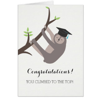 Sloth Graduation Card with light blue tassel