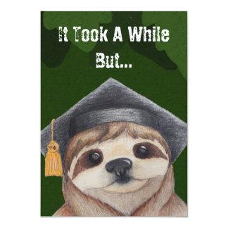 "Sloth Graduation Invitation 5"" X 7"" Invitation Card"