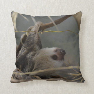 Sloth Hanging from a Branch Throw Pillow