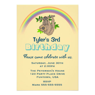 """Sloth Hanging Upside Down Childs Birthday Party 5"""" X 7"""" Invitation Card"""