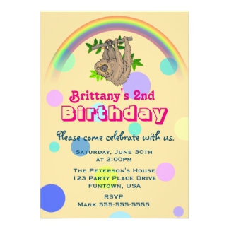 Sloth Hanging Upside Down Childs Birthday Party Card