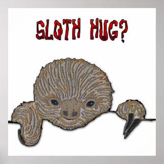 Sloth Hug Baby Sloth Poster