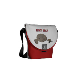 Sloth Hug Baby Sloth Sketch Messenger Bag