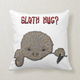 Sloth Hug Baby Sloth Sketch Throw Pillow