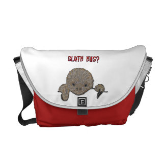 Sloth Hug Baby Sloth with Red Hearts Courier Bag