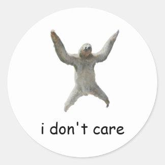 sloth - i don't care classic round sticker