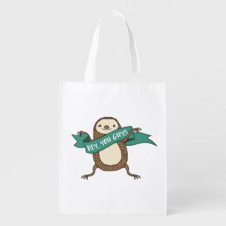 "Sloth Illustration ""Hey You Guys"" Grocery Bag"