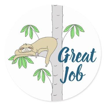 Professional Business Sloth in Cecropia Tree Classic Round Sticker