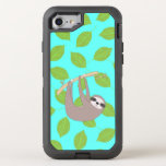 "Sloth in Nature OtterBox Defender iPhone 8/7 Case<br><div class=""desc"">A cute little sloth hangs around among green leaves over a light teal background.   So very cute and perfect for any sloth lover.  