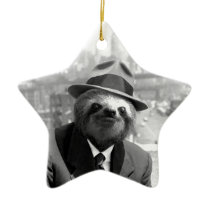 Sloth in New York Ceramic Ornament
