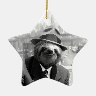 Sloth in New York Ceramic Ornament