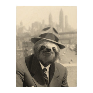 Sloth in New York Wood Wall Decor
