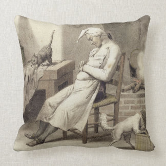 Sloth in the Kitchen, from a series of prints depi Throw Pillow