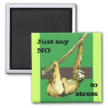 Sloth -Just Say NO 2 Inch Square Magnet