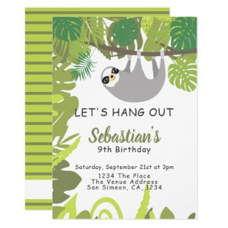 Sloth Lets Hang Out Personalized Birthday Party Invitation