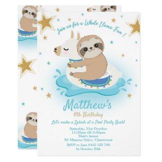 Sloth Llama Pool Party Birthday Invitation Boys