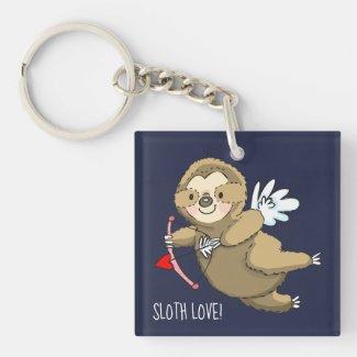 Sloth Love Cupid Valentine Keychain