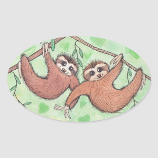 Sloth Love Valentine Oval Stickers