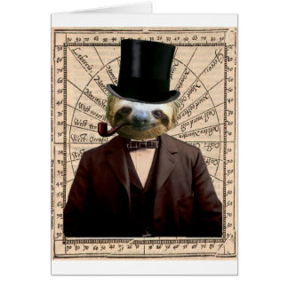 Sloth Man Victorian Steampunk Anthropomorphic Greeting Cards