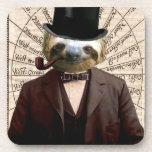 Sloth Man Victorian Steampunk Anthropomorphic Drink Coaster